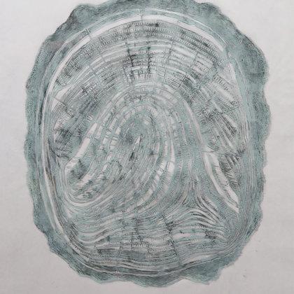 Linogravure 10/ 30, 2018, technique de gravure en taille d'épargne, 49 x 36 cm