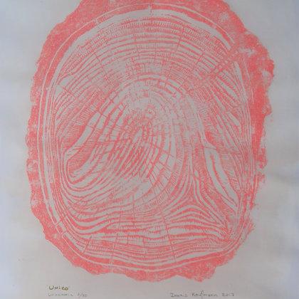 Linogravure 3 / 30, 2018, technique de gravure en taille d'épargne, 49 x 36 cm