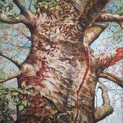 Hetre Pourpre, Grand Saconnex, 130 x 100 cm, Technique mixte sur tissu laminé avec feuill