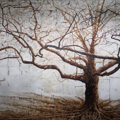 Platane commun, parc des Cropettes, 2017, technique mixte sur toile, 100 x 120 cm
