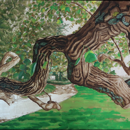 Virginia Tulip tree I RH, Perle du Lac park, 2017, mixed media on canvas, 100 x 200 cm