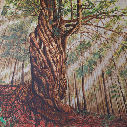 Milenary yew, Berner Jura, 2018, mixed media on canvas, 125 x 187 cm